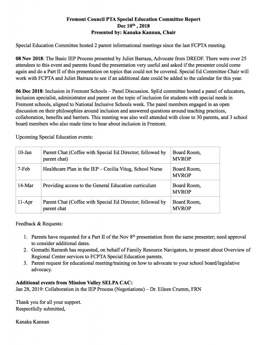 Parents Know Your Special Education >> Special Education Committee Fremont Council Pta